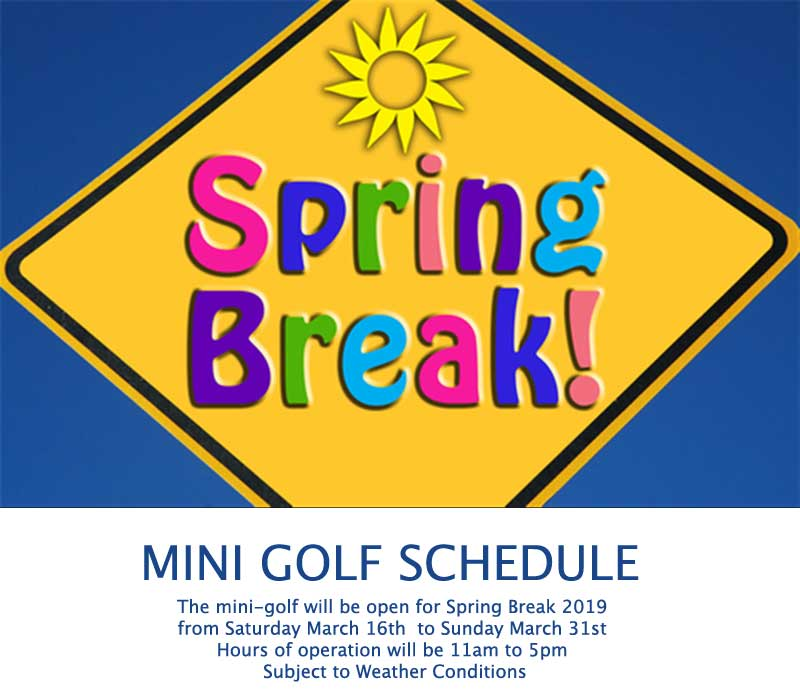 mini golf open for spring breeak
